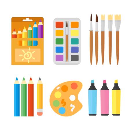 secretarial: Colored engineering paints and pencils vector illustration simple equipment school supplies subject secretarial tools pastel vertical color education sign.