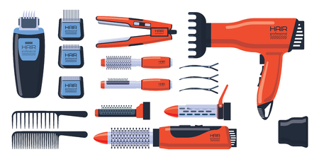 Barber salon professional set with tools equipment and twisting grooming metal barbershop care hairdressing stylist electric accessory vector illustration.