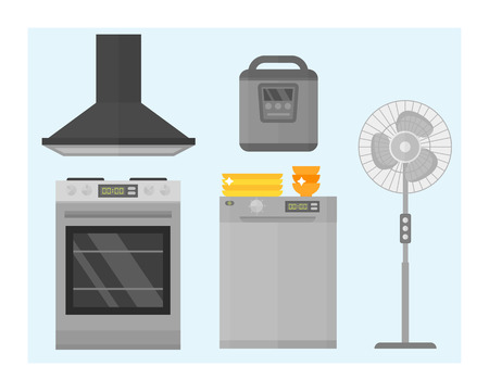 gas laundry: Home appliances kitchen equipment domestic electric tool technology household laundry and cleaning group machine interior electric vector illustration. Illustration