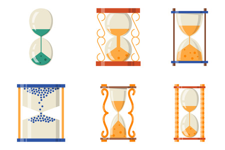 Sandglass icon time flat design history second old object and sand clock hourglass timer hour minute watch countdown flow measure vector illustration. Illustration