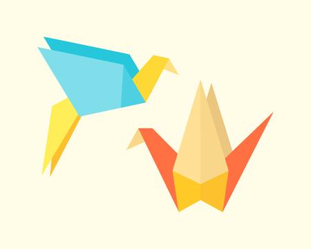 Origami birds crane abstract nature icon