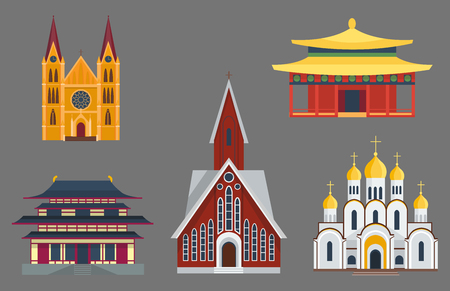 Cathedral church temple building landmark tourism world religions and famous structure Illustration