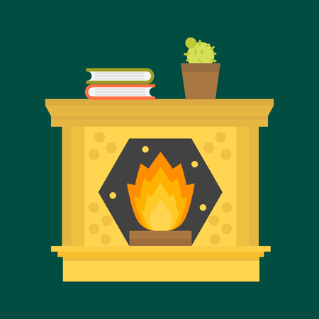 Flat style fireplace icon design house room warm christmas flame bright decoration coal furnace and comfortable warmth energy indoors vector illustration.
