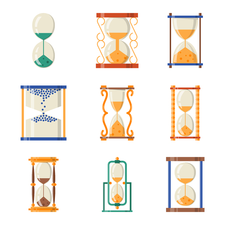 Sand glass icon time flat design history second old object and sand clock hourglass timer.