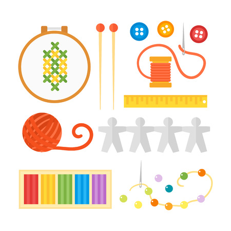Themed kids creativity creation symbols poster in flat style with artistic objects for children