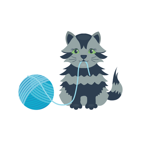 Cat breed cute kitten gray pet portrait fluffy young adorable cartoon animal Illustration