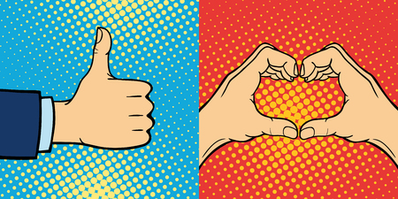 Hands showing deaf-mute different gestures human arm hold communication and direction design fist touch pop art style colorful vector illusstration.