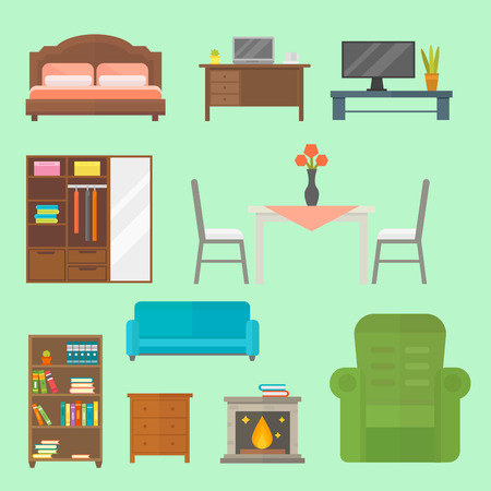 fireplace living room: Furniture home decor icon set indoor cabinet interior room library office bookshelf modern restroom silhouette decoration vector illustration Illustration