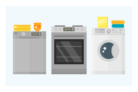 Home appliances kitchen equipment domestic electric tool technology household laundry and cleaning group machine interior electric vector illustration. Stock Photo