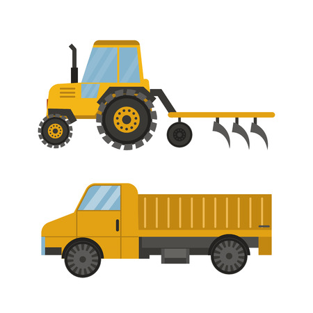 Agriculture industrial farm equipment machinery tractor combine and excavator rural machinery corn car harvesting wheel vector illustration. Stock Photo
