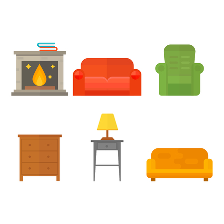 Furniture home decor icon set indoor cabinet interior room library office bookshelf modern restroom silhouette decoration vector illustration Illustration