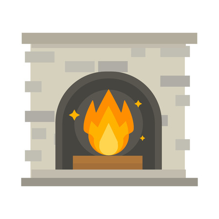 Flat style fireplace icon design house room warm christmas flame bright decoration coal furnace and comfortable warmth energy indoors vector illustration. Vector Illustration