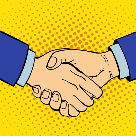 Hand showing handshake deaf-mute gesture human arm hold communication and direction design fist touch pop art style colorful vector illusstration.