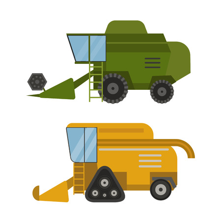 Agriculture industrial farm equipment machinery tractor combine and excavator rural machinery corn car harvesting wheel vector illustration. Illustration