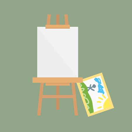 artboard: Easel art board vector isolated for some artist with paint palette paper canvas artboard and themed kids creativity creation symbol vector illustration.