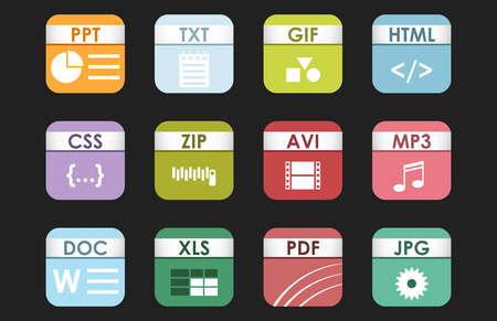 icons site search: Simple square file types formats labels icon set presentation file symbol and sounds extension graphic multimedia sign illustration.
