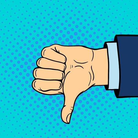 聾唖者ジェスチャーひと腕手示す親指は、コミュニケーションと方向設計拳タッチ pop アート スタイル カラフルなベクトル illusstration を保持します  イラスト・ベクター素材