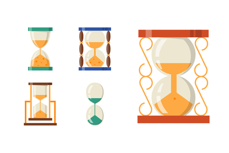 Sandglass icon time flat design history second old object and sand clock hourglass timer Illustration