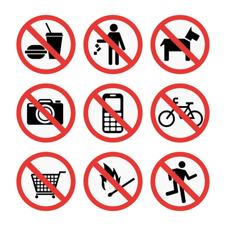 Prohibition signs set safety information vector illustration. Ilustrace
