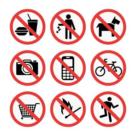 Signos de prohibición conjunto de información de seguridad ilustración vectorial. Foto de archivo - 74950080