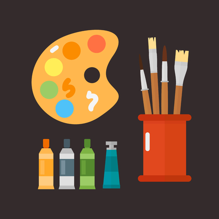 paint container: Multicolor watercolour paint box vector illustration drawing container education school and hobby tool creativity colorful palette equipment.