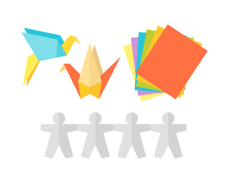 Themed Kids Origami Creativity Creation Symbols Poster In Flat