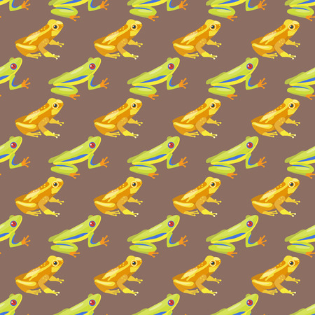 croaking: Frog cartoon tropical animal cartoon nature seamless pattern funny and isolated mascot character wild funny forest toad amphibian vector illustration.