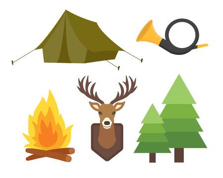 ヴィンテージのハンティングのセット キャンプ オブジェクト デザイン要素フラット スタイル ハンター武器と森林野生動物や他衣装分離ベクトル図を記号します。 写真素材 - 74710473