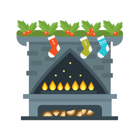 gas fireplace: Flat style fireplace icon design house room warm christmas flame bright decoration coal furnace and comfortable warmth energy indoors vector illustration.