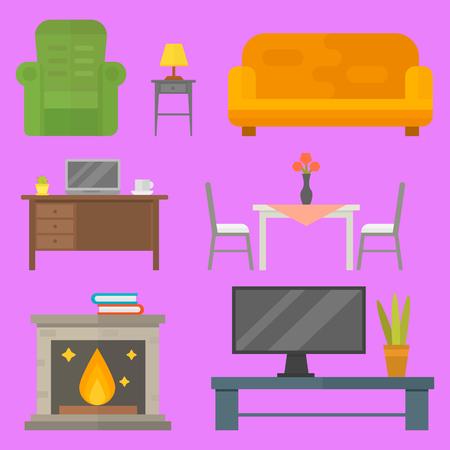 modern living room: Furniture home decor icon set indoor cabinet interior room library office bookshelf modern restroom silhouette decoration vector illustration Illustration