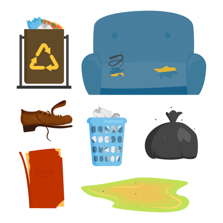 Recycling garbage elements trash bags tires management industry utilize concept and waste ecology can bottle recycling disposal box vector illustration. Zdjęcie Seryjne - 74878481