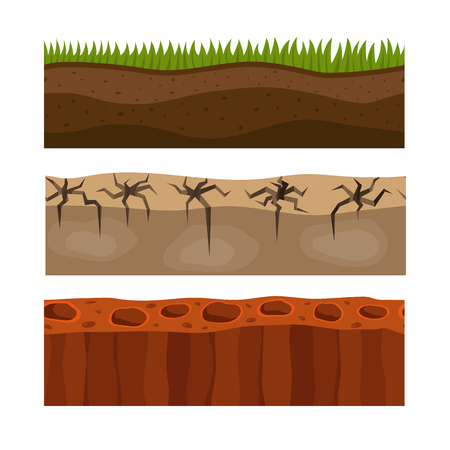 Cross section ground slice isolated grownd piece nature outdoor ecology underground and freestanding render garden natural geologist earth vector illustration.