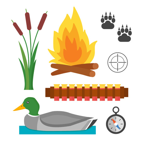 Set of vintage hunting symbols camping objects design elements flat style hunter weapons and forest wild animals