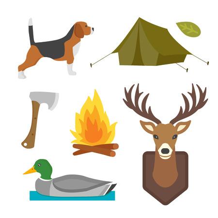 ヴィンテージのハンティングのセット キャンプ オブジェクト デザイン要素フラット スタイル ハンター武器と森林野生動物や他衣装分離ベクトル図を記号します。 写真素材 - 74887447