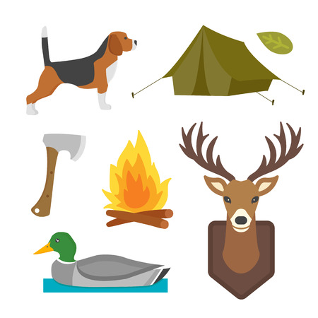 Set of vintage hunting symbols camping objects design elements flat style hunter weapons and forest wild animals and other outfit isolated vector illustration.