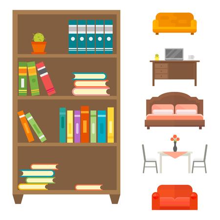 modern living room: Furniture home decor icon set indoor cabinet interior room library office bookshelf Illustration