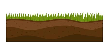 횡단면 지상 조각 절연 일부 조각 자연 자연 생태 지 하 및 freestanding 렌더링 자연 지질학 지구 벡터 일러스트 레이 션.