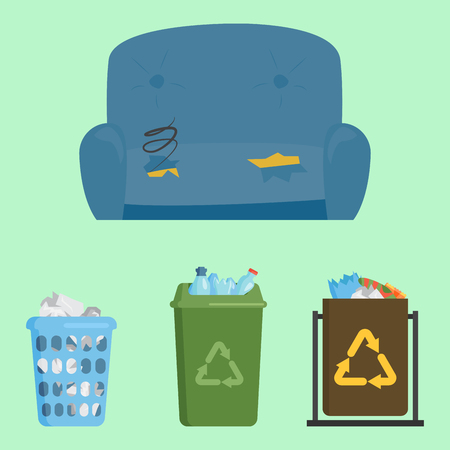 Recycling garbage elements trash bags tires management industry utilize concept and waste ecology can bottle recycling disposal box vector illustration.