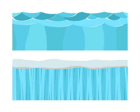 Cross section blue water slice isolated some piece nature outdoor ecology underground Illustration