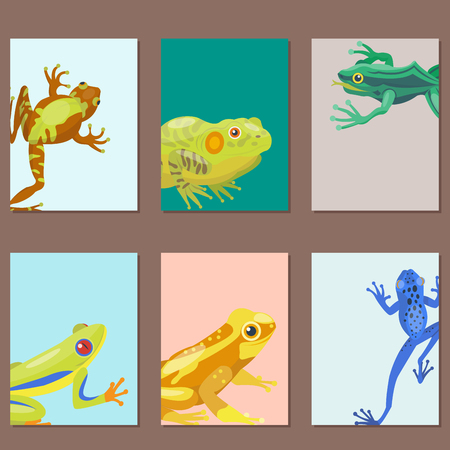 croaking: Frog cartoon tropical animal cartoon nature cards vector illustration. Illustration