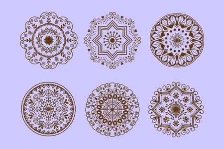 Henna tattoo mehndi flower template doodle Illustration