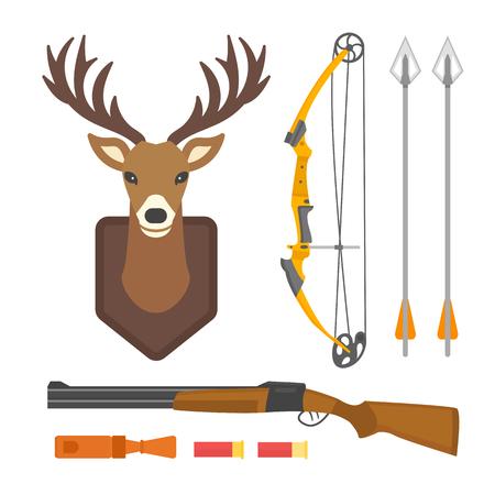 Set of vintage hunting symbols camping objects vector illustration. Illustration