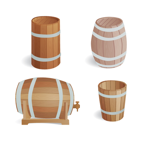 Wooden barrel vintage old style oak storage container and brown isolated retro liquid beverage object fermenting distillery cargo drum lager vector illustration.