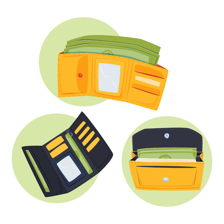 Purse wallet with money vector ico for shopping buy business financial payment bag and accessory object trendy cash wealth vector illustration.