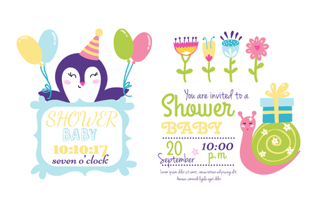 baby: Baby shower badge happy mothers day insignias logotype sticker stamp icon frame and card design doodle vintage hand drawn element vector illustration.