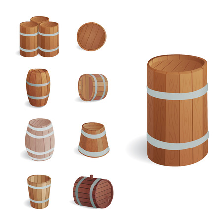 Wooden barrel set illustration.