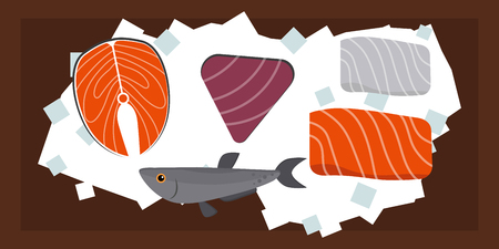 gourmet meal: Seafood flat tasty cooking delicious can be used for layout advertising and fresh shrimp shellfish web design gourmet restaurant meal vector illustration.