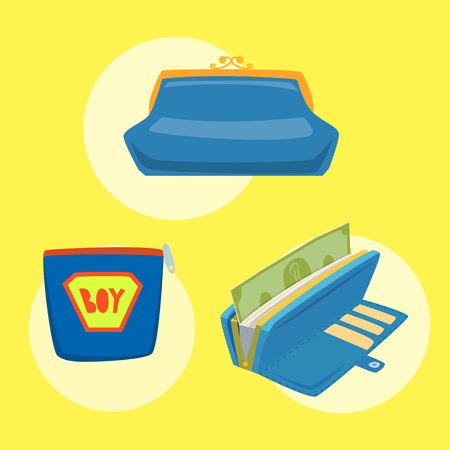 Purse blue wallet with money vector ico for shopping buy business financial payment bag and accessory object trendy cash wealth vector illustration.