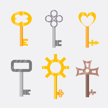 tool unlock: Vintage or antique door key isolated access household tool retro metal security house protection and decorative skeleton ornate secret sign vector illustration.