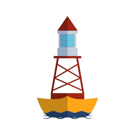 water mill: Cartoon flat lighthouse searchlight tower for maritime navigation guidance light vector illustration.